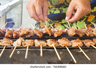 Pork kebab Grill charcoal, bbq Fast food  In Thailand, perfect for breakfast and eat with sticky rice.