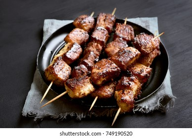 Pork kebabs on a plate. Bbq meat