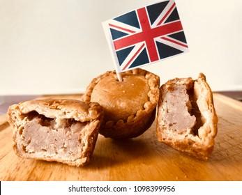 Pork pie with flag