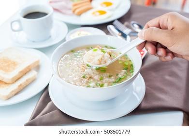 pork rice or mush for breakfast