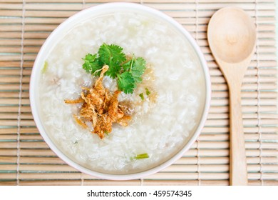 Pork rice porridge and dried shredded pork, food thai style
