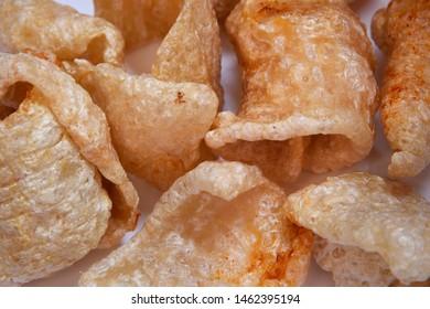 Pork rinds freshly fried. Salty and yummy snacks