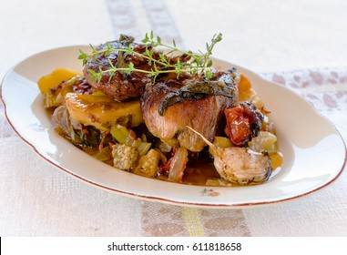 Pork with sage and vegetables - cooked