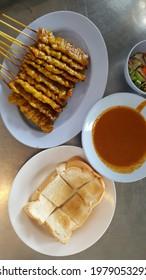pork satay yeallow thai food