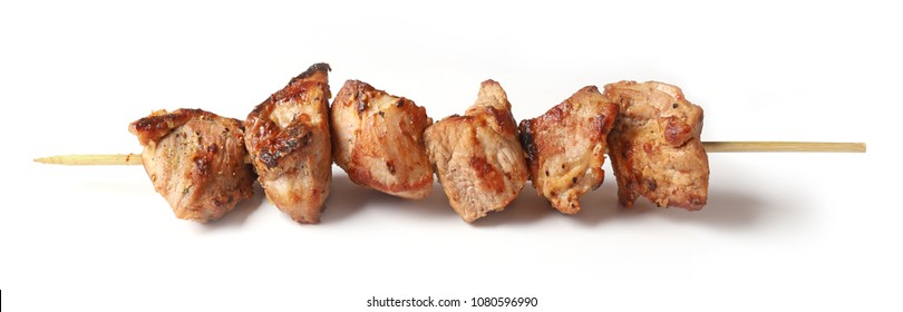 Pork shish kebab isolated on white background