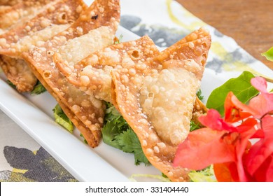 Pork, shrimp and vegetables deep fried in wonton wrappers