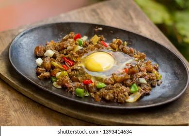 pork sisig sizzling plate appetizer