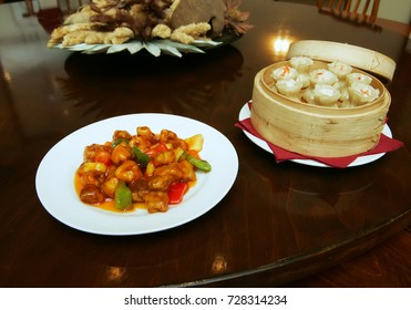 Pork slices in soy sauce and Chinese dumpling - Chinese cuisine