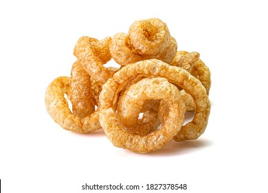 Pork snack or Pork rind leather lean pork fried crispy and blistered isoloated on white background. Thai food, Close-up