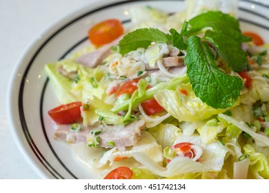 pork spicy salad isolated on white background