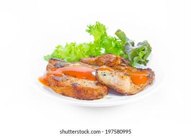 Pork steak with black pepper and vegetable