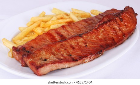 Pork steak with french fries