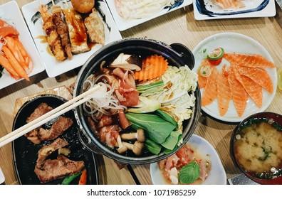 Pork Sukiyaki, Sukiyaki Japanese Food,  Buffet Japanese Food, Shabu Japanese, Salmon Sashimi
