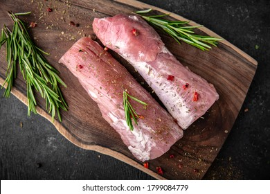 Pork tenderloin. Fresh raw meat prepared for cooking.