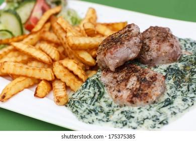 Pork Tenderloin, Fries, Spinach