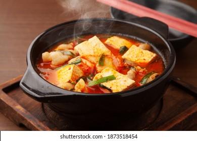 Pork, tofu and kimchi pot
