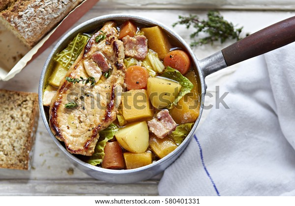 Pork and vegetable stew with cider
