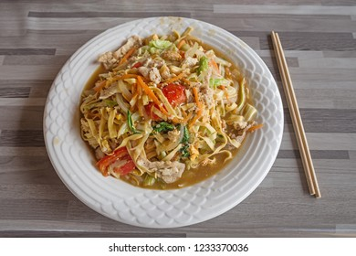 pork and vegetables with noodles at a restaurant in Konglor Laos