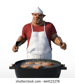 A Porkman is grilling meat for a barbecue - 3D render.