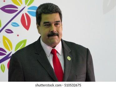 Porlamar, Venezuela. September 17th, 2016: Venezuelan President Nicolas Maduro before the opening ceremony at the Non-Aligned Movement summit in Porlamar, Margarita Island, Venezuela
