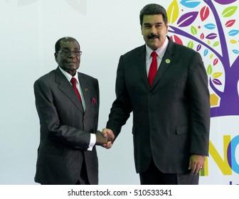 Porlamar, Venezuela. September 17th, 2016: President of Zimbawe Robert Mugabe and Venezuelan President Nicolas Maduro at the opening ceremony of the Non-Aligned Movement Summit in Porlamar, Venezuela