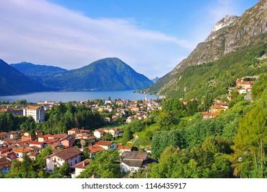 Porlezza small town on Lake Lugano, Italy