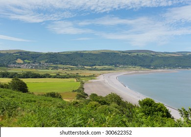 Porlock beach and coast Somerset England UK near Exmoor and west of Minehead view from Hurlstone Point towards the weir