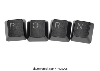 PORN formed by keys of a computer keyboard