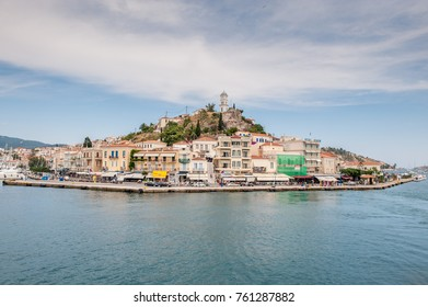 POROS, GREECE - MAY 30: Aerial view from a ferry on May 30, 2009 in Poros. Poros is a small Greek island in the Aegean sea belonging to the Saronic islands.