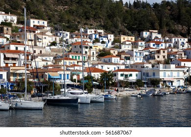 POROS TOWN, GREECE - JANUARY 1, 2017: Poros seafront