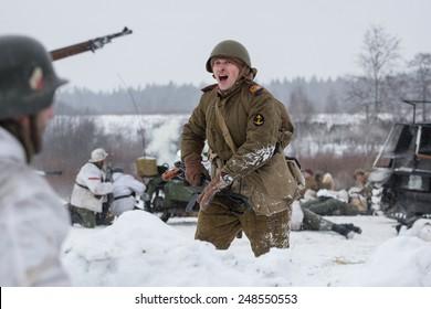 POROZHKI, LENINGRAD REGION, RUSSIA - JAN 25: Historical reenactment of the Operation January Thunder (1944) on January 25, 2015 in Porozhki, Leningrad region, Russia.
