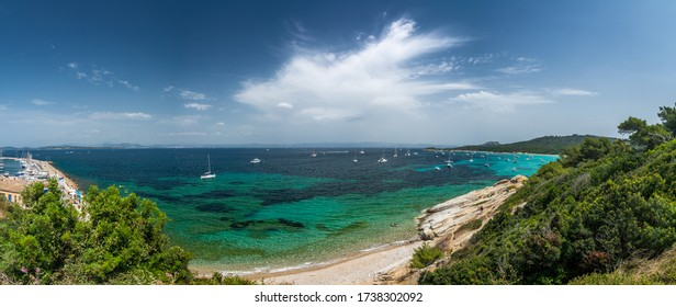 Porquerolles, France - June 10, 2019 : People on the beach of Courtade in Porquerolles, one of the most beautiful island of France