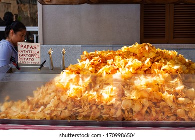 Porreres, Mallorca, Spain - October 27, 2019: Fried potato chips for sale on Porreres Market. Majorca, Spain