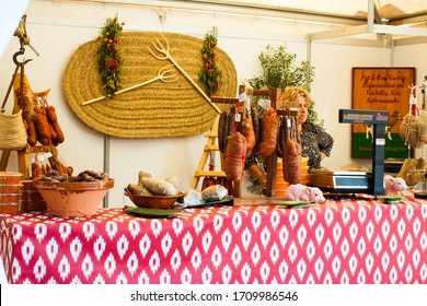 Porreres, Mallorca, Spain - October 27, 2019: Traditional Majorcan Sobrassada saussage for sale on Porreres Market. Majorca, Spain