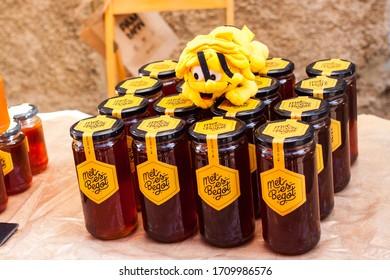 "Porreres, Mallorca, Spain - October 27, 2019: Honey ""Mel es Begot"" for sale on Porreres Market. Majorca, Spain"