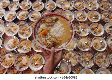 Porridge is traditional food from Indonesia. Porridge that exist only when breaking the fast during Ramadhan at the Mosque Sabiilurrosyaad, Wijirejo, Pandak, Bantul, Yogyakarta, Indonesia