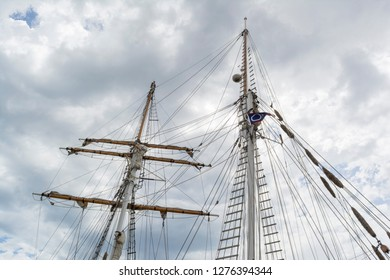 Port Adelaide, South Australia, Australia - February 2, 2018: The mast of the tall ship 'One and All' moored on the wharf. Built in 1982 by volunteers and ship builders based on a 1850s Brigantine.