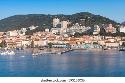 Port of Ajaccio, Corsica, the capital of Corsica, French island in the Mediterranean Sea. Summer morning cityscape