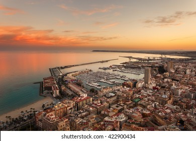 Port Alicante at sunset