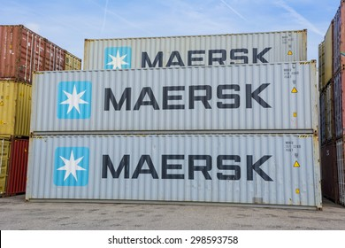 Port of Amsterdam, Noord-Holland/Netherlands - 17-07-2015 - Containers from the Maersk placed between other containers.