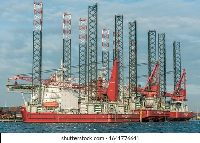 Port of Amsterdam, Noord-Holland/Netherlands -Dec 29-12-2019- Seajacks owns and operates a fleet of 5 self propelled jack up vessels. The vessels are moored at the shore in Amsterdam.