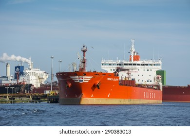 Port of Amsterdam, Noord-Holland/Netherlands - June 24-06-2015 - Tanker Prisco Elena (company located in Singapore) is moored at the jetty from the BP Terminal. Ship is busy with cargo operations.