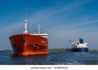 Port of Amsterdam, Noord-Holland/Netherlands - May 09-05-2016 - Tanker Sten Sternberg is sailing to the jetty of the VOPAK terminal in Amsterdam. Tanker Navi8 Excel is waiting for further orders.
