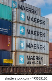 Port of Amsterdam, Noord-Holland/Netherlands - October 05-10-16 - Containers from the Maersk placed at the shore. The Maersk Group is an integrated transport and logistics company.
