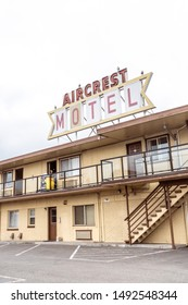 Port Angeles, Washington - July 7, 2019: Sign for the Aircrest Motel, an older motor court style accommodation near the ferries