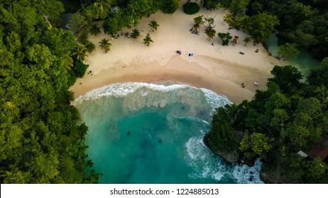 Port Antonio Jamaica Frenchman's Cove Aerial Footage Birds View