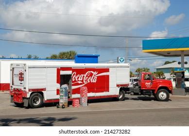 PORT ARANSAS, USA - OCT 22: Coca Cola Truck delivering beverages. October 22, 2008 in Port Aransas, Texas