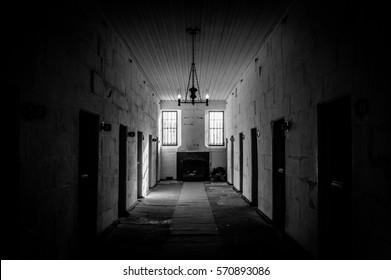Port Arthur, Tasmania, Australia on June 8, 2013: View on cell block in historic Port Arthur penal colony prison