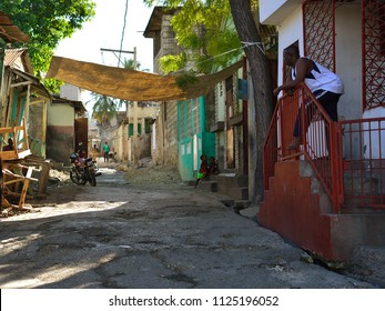 PORT AU PRINCE, REPUBLIC OF HAITI - 17 DECEMBER 2017: Standard street with early morning in the city Port au Prince