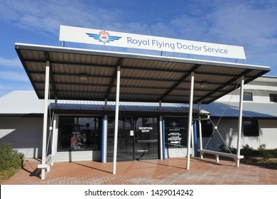 PORT AUGUSTA, SA - MAY 17 2019:Royal Flying Doctor Service of Australia Dispatch service building provides emergency and health care services for Australians in rural and remote areas of Australia.